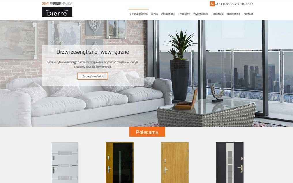 Strona internetowa firmy sprzedającej drzwi