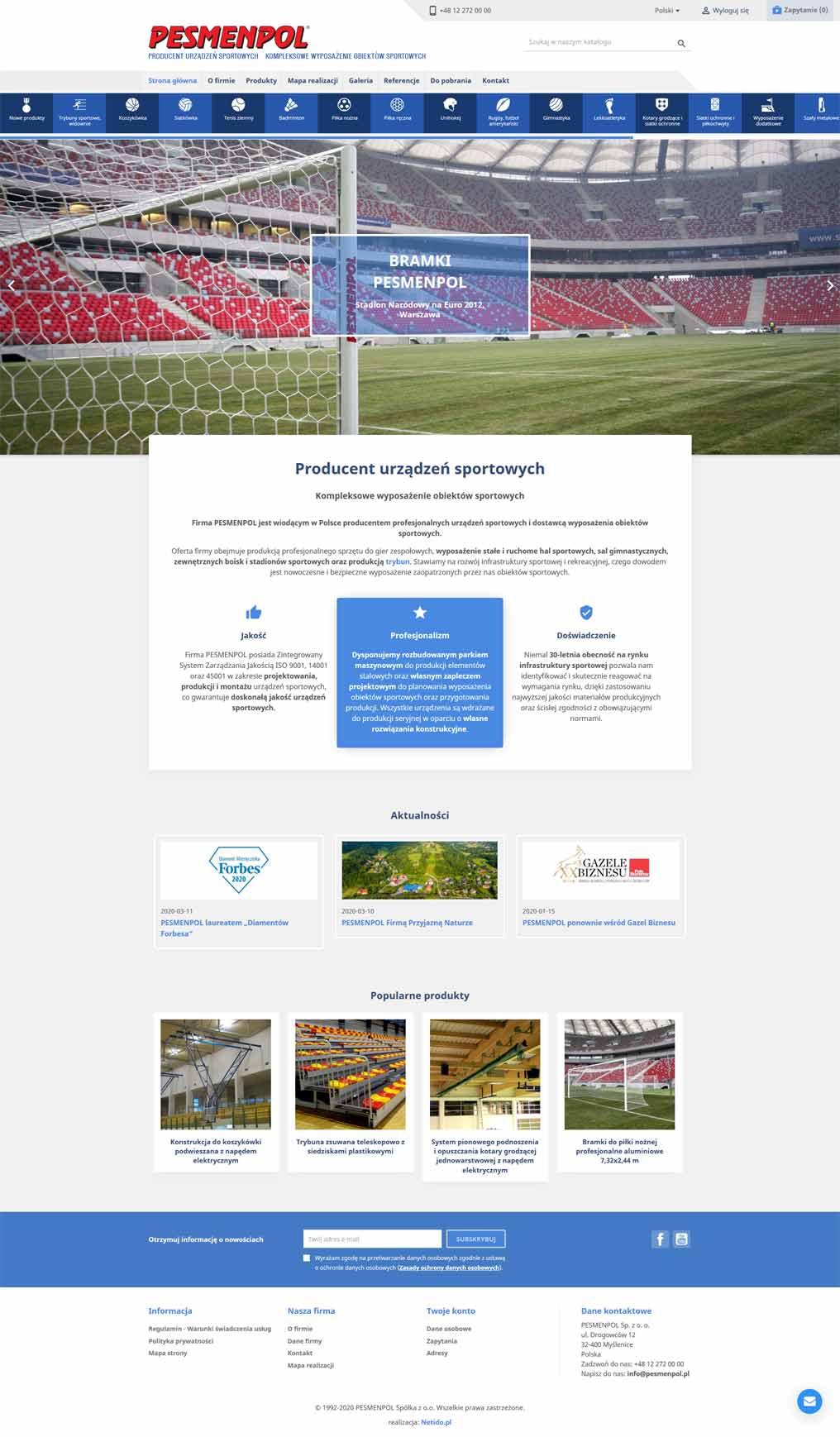 Strona internetowa sport