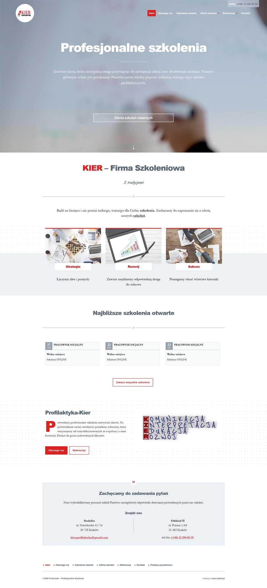 Strona internetowa firma szkoleniowa